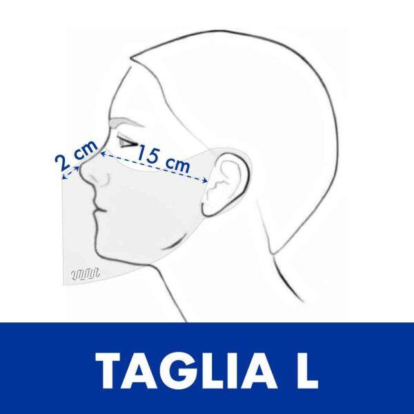 Misure della taglia L della mascherine trasparente