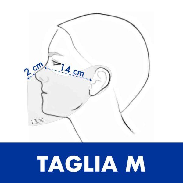 Misure della taglia M della mascherine trasparente