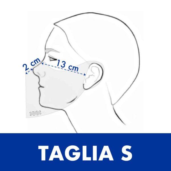 Misure della taglia S della mascherine trasparente