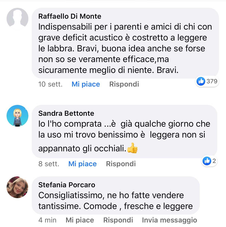Commenti e recensioni su facebook della mascherina trasparente - 5