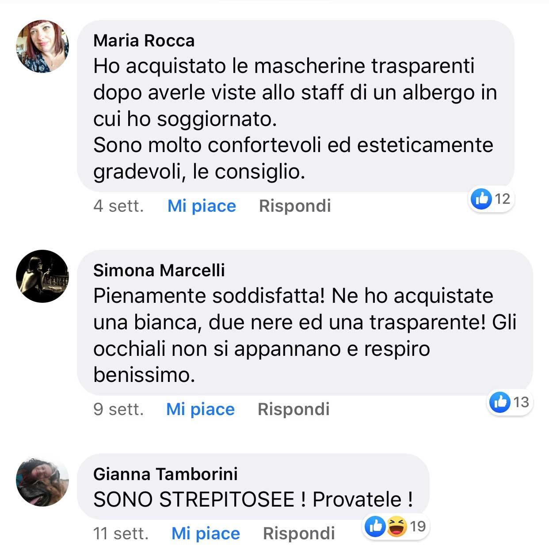 Commenti e recensioni su facebook della mascherina trasparente - 2